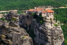 Mountain view on Meteora monastery in greece on mountain royalty free stock photo