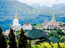 Mountain View and Mist, White Mist and Buddha statue stock images