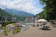 Mountain view and modern hotels in the resort of Rosa Khutor. (Sochi stock photos