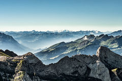 Mountain view from Mount Saentis, Switzerland , Swiss Alps. Mountain view from  Mount Saentis, Switzerland , Swiss Alps Stock Image