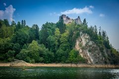 Mountain view, mountain panorama, mountain river, trip to the mountains, castle in Niedzica i Czorsztyn, castle view, Royalty Free Stock Photo