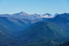 Mountain view on mountains from top pick with clear sky. Royalty Free Stock Photo