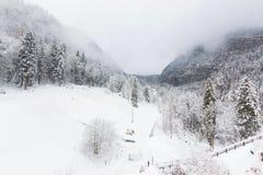Mountain View na cidade do hesitage de Hallstatt 4000 anos Imagens de Stock Royalty Free