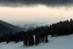 Mountain View nevado, Kopaonik, Sérvia fotografia de stock