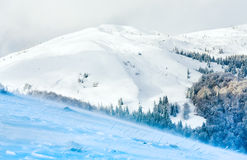 Mountain View nevoso y ventoso del invierno Fotos de archivo libres de regalías
