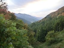 Mountain view. A nice view up the mountain looking down into a valley somewhere in the remote countryside of Japan. And this was around autumn Royalty Free Stock Photo