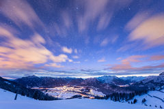 Mountain view over illuminated valley Royalty Free Stock Photo