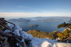 Mountain view overlooking ocean and islands off Vancouver, Canada stock photos