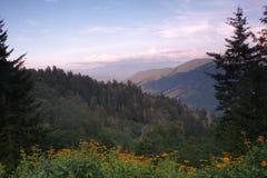 Mountain View på solnedgången Arkivfoton