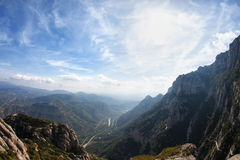 Mountain View. Panorama and blue sky stock images