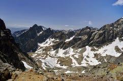 Mountain view. Panorama of Slovakia Tatra Mountains from the ridge royalty free stock photo