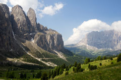 Mountain view of Passo Gardena Stock Photos