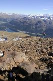 Mountain view from Piz Nair Peak over the Upper Engadin. Magnificant panoramic mountain view from the peak of Piz Nair above St. Moritz in the valley of Engadina Stock Photos