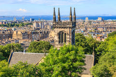 Mountain view point over Edinburgh city. Royalty Free Stock Photo