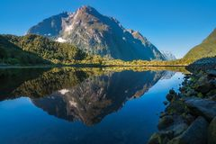 Mountain View Reflections in Water at Milford Sound. Mountain View and Freshwater Basin in the morning, looking towards Milford Sound resort town from close to Royalty Free Stock Photo