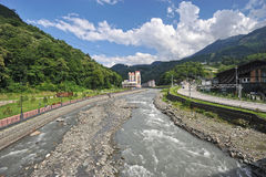 Mountain view, river Mzymta and the resort Rosa Khutor Stock Photography