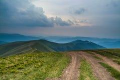 Mountain view. Of road in carpathian mountains Ukraine Stock Photo