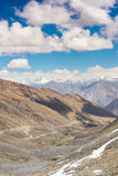 Mountain view on the road to Nubra Valley,India. Khardung La is a high mountain pass located in the Ladakh region of the Indian state of Jammu and Kashmir. The royalty free stock photo