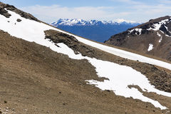 Mountain view with rocks and snow Royalty Free Stock Photos