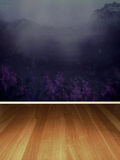 Mountain View Room. A premade room or background with a mountain scene as the wallpaper or wall design Royalty Free Stock Photography