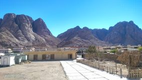 Mountain view at Saint Catherine. Sinai Peninsula, Egypt. Clear after noon sky in the winter royalty free stock photo