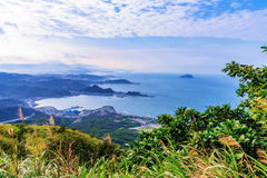 Mountain view of sea and countryside Royalty Free Stock Images