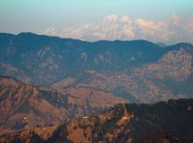 Mountain view in shimla. Range of mountains can be seen in sunny afternoon at shimla, himachal pradesh, india Royalty Free Stock Images