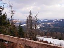 Mountain view in ski resort Bukovel, Carpathians, Ukraine. Observation deck mountains ski resort bukovel carpathians ukraine  wood view landscape scenery balcony stock images
