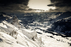 Mountain view from ski safari. Swiss mountain landscape from Lenzerheide ski resort Royalty Free Stock Images