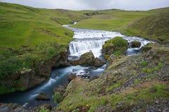 Mountain view of Skogarfoss waterfall, Iceland. Royalty Free Stock Photo