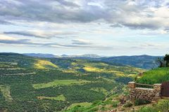 Mountain view. Small town Ares in Spain. Royalty Free Stock Photo