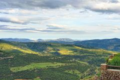 Mountain view. Small town Ares in Spain. Stock Photo