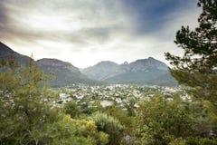 Mountain view small town stock photos