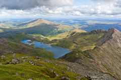 Mountain view from Snowdon. Mountain view from the Snowdon summit, Snowdonia, Wales Royalty Free Stock Photography