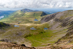 Mountain view from the Snowdon summit royalty free stock photos