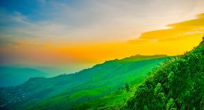 Mountain View sul tramonto a nordico della Tailandia Immagini Stock