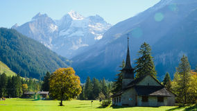 Mountain View. Swiss Alps. Kandersteg Mountain Chapel in Switzerland, Europe. Mountain View. Swiss Alps Royalty Free Stock Image