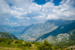 Mountain view to The Bay of Kotor and Perast Stock Photography