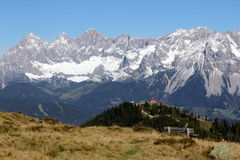 Mountain view to Dachstein from Hochwurzen royalty free stock image