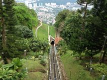 Mountain view. Top of mountain to the city , with beautiful rail track tunnel Royalty Free Stock Photography