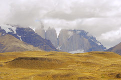 Mountain view of Torres del Paine National park. Royalty Free Stock Images