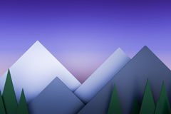 Mountain view twilight stack paper material layer background 3d Stock Photos