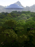 Mountain View With UFO 3. A view over a mountain forest with a UFO over it Stock Photography