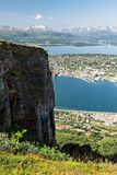 Mountain View und Tromso-Stadt, Norwegen stockfoto