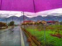 Mountain view under umbrella. Greece Stock Images