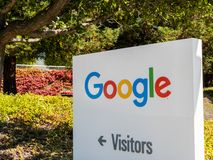 Google logo at Googleplex headquarters main office. Mountain View, USA - September 25, 2018: Google logo at Googleplex headquarters main office royalty free stock image