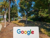 Google logo at Googleplex headquarters main office. Mountain View, USA - September 25, 2018: Google logo at Googleplex headquarters main office stock photo