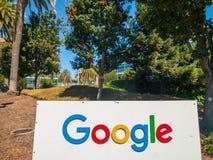 Google logo at Googleplex headquarters main office. Mountain View, USA - September 25, 2018: Google logo at Googleplex headquarters main office stock images