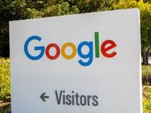 Google logo at Googleplex headquarters main office. Mountain View, USA - September 25, 2018: Google logo at Googleplex headquarters main office royalty free stock images
