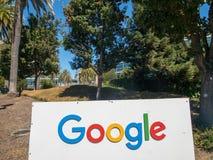 Google logo at Googleplex headquarters main office. Mountain View, USA - September 25, 2018: Google logo at Googleplex headquarters main office royalty free stock photo
